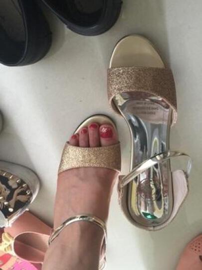 古奇天伦女鞋夏季2019夏天韩版水钻凉鞋高跟鞋细跟水晶一字型女凉拖鞋子 女 金色 39 晒单图