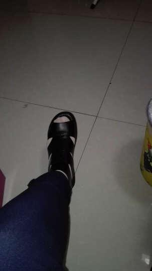 恒有福2019女罗马鞋真牛皮单鞋坡跟软底平底鱼嘴凉鞋妈妈鞋工作鞋 黄色 36 晒单图