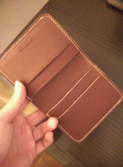 lanspace原创手工钱包 男式学生厚牛皮皮具短款小钱包日系真皮票夹 LW012 酒棕色 晒单图