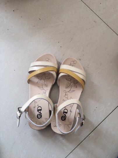 ZENGR珍格2016夏季新款凉鞋女平跟真牛皮平底凉鞋拼色少女中学生凉鞋潮 蓝色 38 晒单图