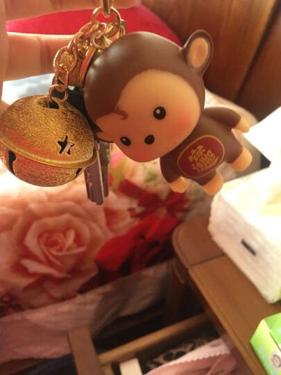 Q鸿钧  猴年迷你嘻哈小猴子多色铃铛钥匙扣环 创意 情侣小礼品包包挂件钥匙扣 汽车 磨砂金色铃铛深棕猴 晒单图