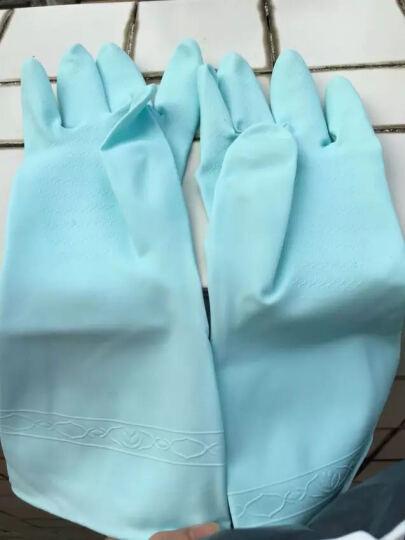 【三双8折 五双6折】新科技洗碗手套 清洁家务乳胶皮护手套宾馆家用 含天然茶树护手精油 cs-300蓝色L 晒单图