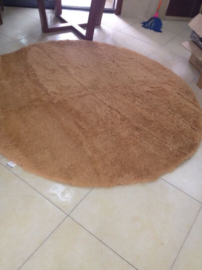 雪之恋 圆形高毛丝绒地毯 电脑椅吊篮卧室床边毯 健身瑜伽毯 粉色 直径100CM圆 晒单图