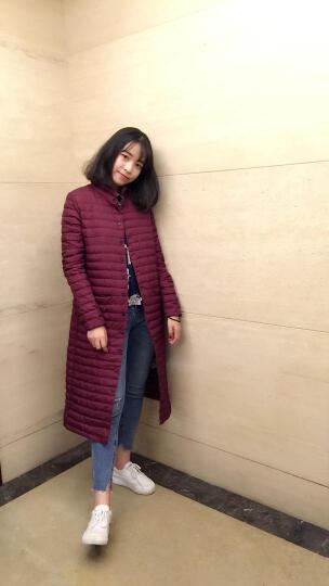 omlesa轻薄羽绒服女中长款韩版新款时尚冬装外套立领修身显瘦正品羽绒衣 暗红连帽 M 晒单图