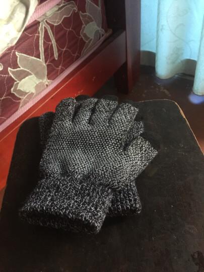 卡兰薇触摸屏毛线手套男女冬季韩版情侣学生全指防滑手套开车骑车保暖加绒加厚 7016-灰色 晒单图
