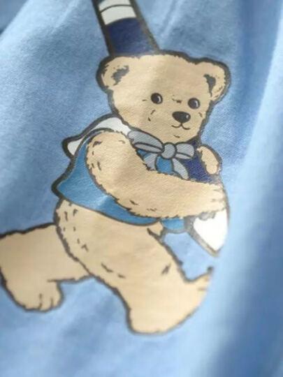 优比小熊 童装 男女童长袖衬衫潮 2016新款春秋装 儿童卡通小熊牛仔衬衣 黑色 135 晒单图