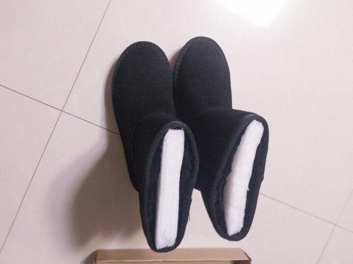 纯牛皮经典款女士款雪地靴冬季中筒防滑保暖棉鞋女鞋短靴 中筒黑色 38. 晒单图