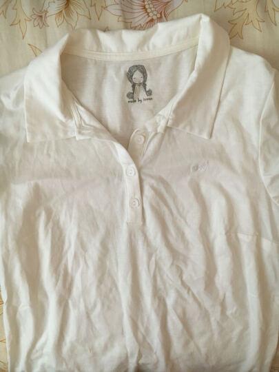 茵曼夏装新款纯色范POLO领短袖修身T恤女上衣【18620$22774】 珍珠白 L 晒单图