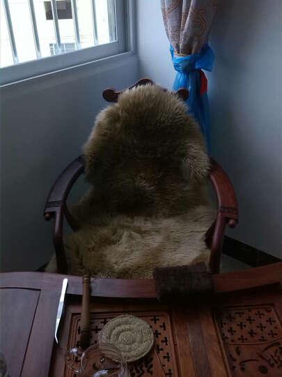 恒源祥 整张羊皮飘窗垫 羊毛P型沙发垫澳洲羊毛床上用品舒适单双人毛毯秋冬保暖羊毛皮毯皮毛一体太师椅垫 深茶色 (定做 3天左右发货) 1P 现货 晒单图