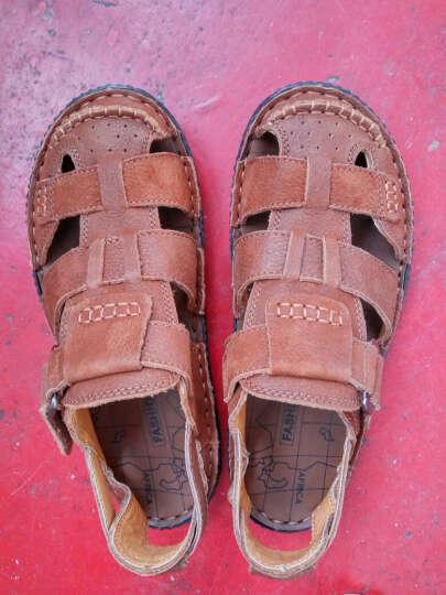 鳄鱼恤凉鞋男舒适软底头层牛皮男士沙滩鞋透气休闲凉鞋 棕色 38偏大一码 晒单图