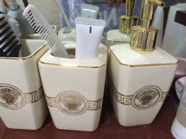 陶瓷卫浴五件套浴室用品欧式洗漱套装牙刷杯套件新婚礼品 FW-3M 晒单图