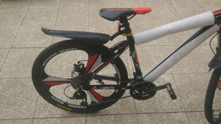 永久(FOREVER) 27速山地车自行车/铝合金26寸男女单车 镁铝合金一体轮 突破者 黑红色 一体轮 晒单图