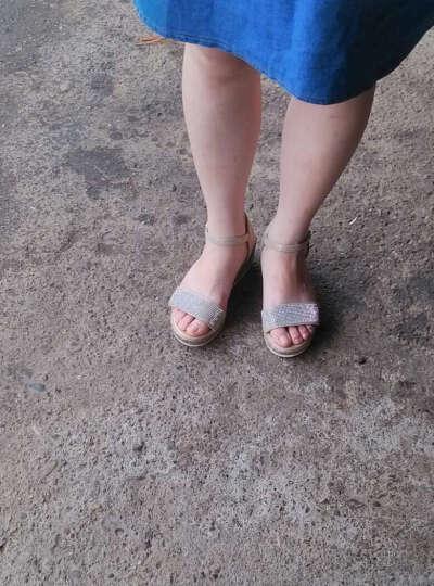 逸希凉鞋女新款中高跟亮片坡跟凉鞋厚底鱼嘴鞋松糕鞋子夏 金色 36 晒单图