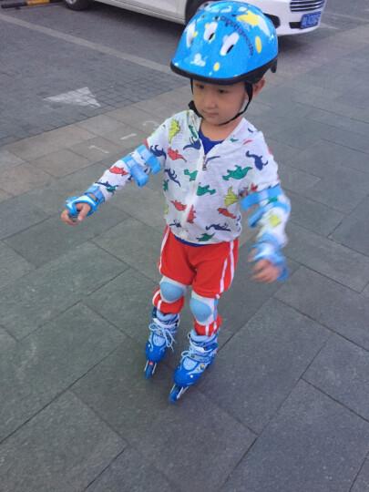 美洲狮(COUGAR) 溜冰鞋儿童套装轮滑鞋 闪光可调男女滑冰鞋旱冰鞋 MS828/P6 蓝(八轮全闪)含护具头盔+包 M(实际31-36码) 晒单图