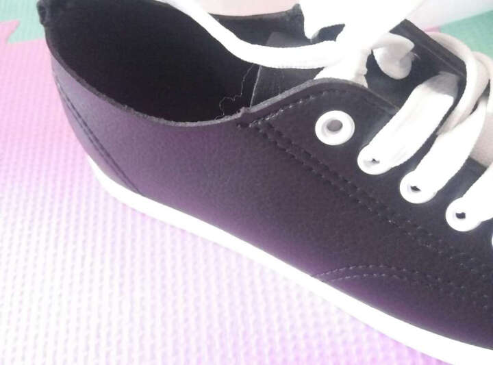 热风春新款时尚板鞋女圆头学生平底休闲鞋系带中口单鞋 01黑色 38偏大一码 晒单图