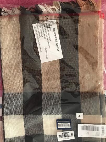 BURBERRY 巴宝莉 男女通用款驼色格纹羊绒混纺围巾 40041961 晒单图