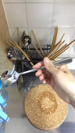 阳光飞歌 304不锈钢餐具勺子套装 韩式主餐勺咖啡勺长柄汤匙饭勺调羹汤勺 5只装XH7577 晒单图