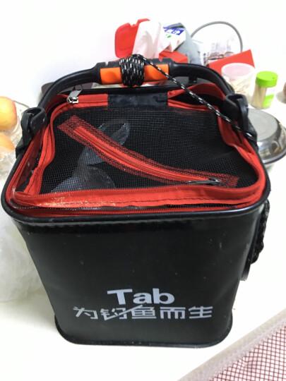 TAB加厚EVA打水桶方形折叠钓鱼活鱼桶带绳小鱼桶垂钓鱼护桶鱼桶 黑色24CM(手提款+打水绳) 晒单图