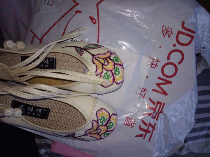 琴澜春秋季新款老北京布鞋平底绣花鞋民族风女内增高 米白色 37 晒单图