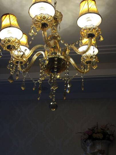 水晶吊灯欧式客厅灯现代简约卧室灯创意顶灯led餐厅灯金粉世家系列灯饰带白光灯泡 8头带罩琥珀 备注灯罩款式 晒单图