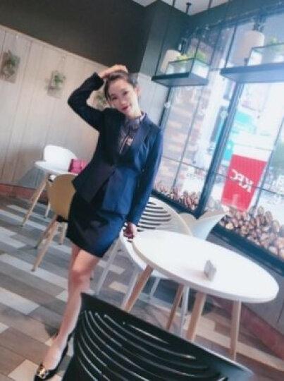 【月销上千】特洛曼职业装女装套装春秋正装女韩版小西装外套 工装保险销售酒店4S工作服女士西服套装 蓝上衣+8781衬衫+马甲+西裤 M 晒单图
