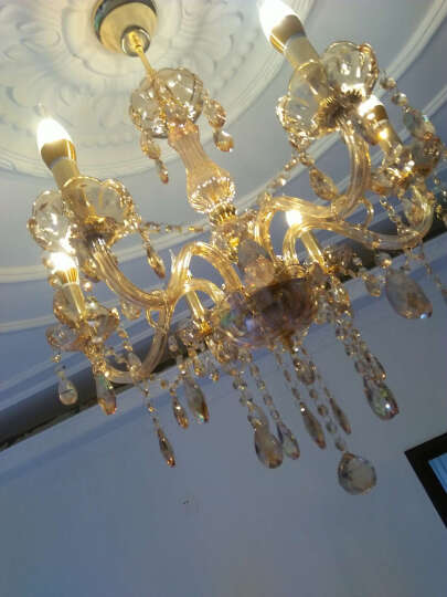 威比特 简欧白色吊灯 欧式水晶灯客厅灯时尚田园水晶吊灯温馨卧室灯餐厅过道灯具 3头烟灰色  K9水晶 晒单图