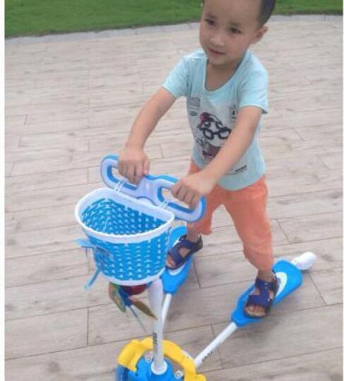 蛙式儿童滑板车儿童四轮闪光轮三轮可折叠儿童踏板车 男女童 粉色闪光四轮 晒单图
