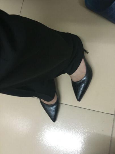 甜典新款高跟鞋浅口尖头单鞋女鞋高跟职业OL通勤细跟工作鞋宴会鞋 黑色 37 晒单图