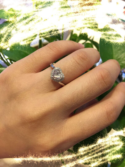先恩尼钻石 心形裸钻 异形钻石戒指 婚戒定制 求婚心形钻戒 戒指空托 结婚戒指定制 女款 8号款*18K耳钉空托(不单独出售) 晒单图