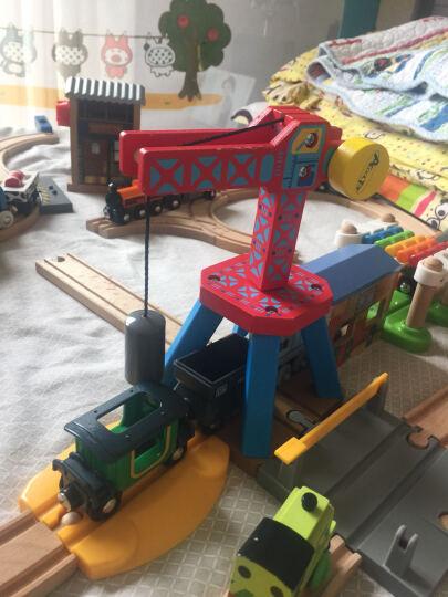 加拿大ACOOL 木制轨道配件 场景搭建配件吊车拱桥车库 单节宜家兼容 儿童托马斯轨道 AC7402工地吊车 晒单图