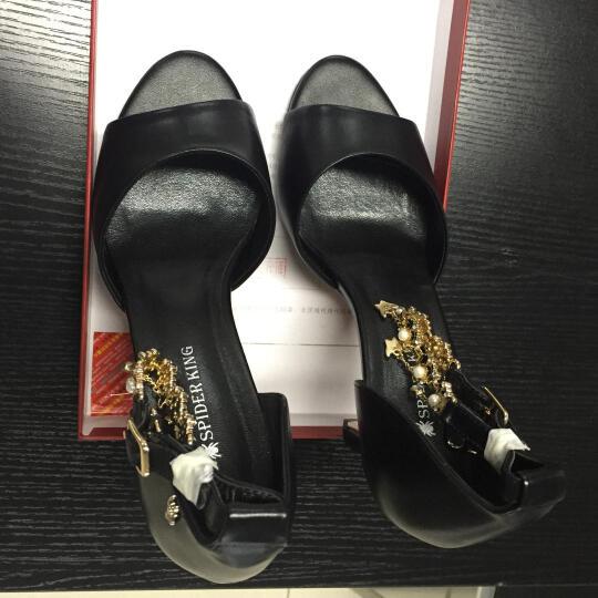 蜘蛛王女鞋凉鞋夏季高跟鞋露趾新款韩版反绒皮粗跟一字带女凉鞋40000 黑色 38 晒单图