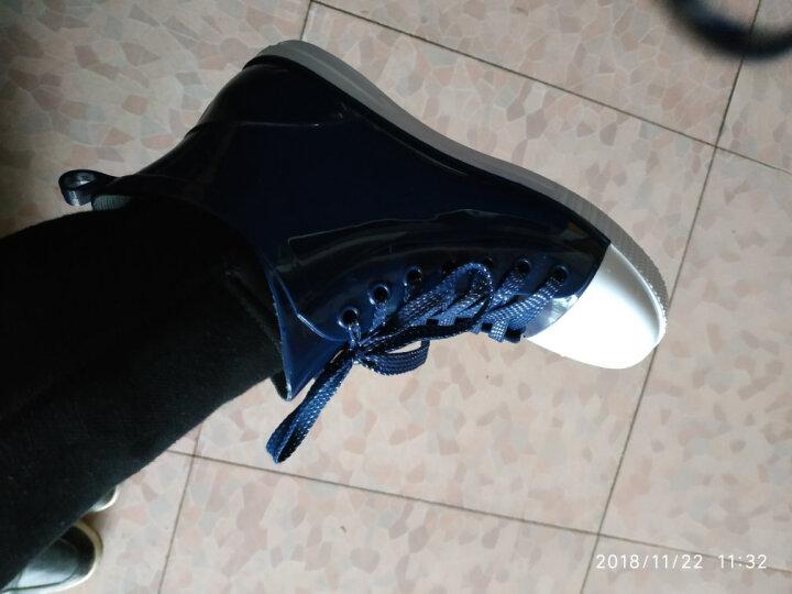 回力女款短筒低帮系带马丁雨鞋 糖果色防水套鞋 时尚可爱甜美防水鞋雨靴 浅蓝 37 晒单图