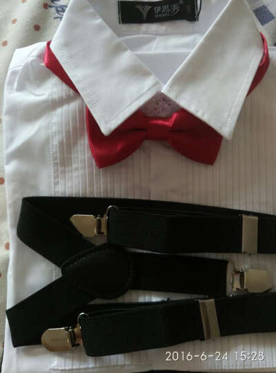 伊思秀(YISIXIU) 儿童演出服 男女儿童礼服 校园演出服装花童服儿童背带裤套装 夏 Y002男童藏青短裤白短袖16 160 晒单图