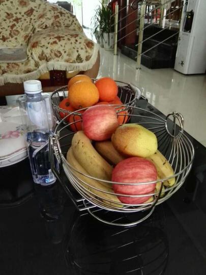 尚合 不锈钢水果篮摇摆沥水果盆客厅装饰水果篮子创意圆形水果盘 普通无带水盘款 晒单图