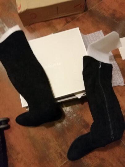 莱尔斯丹 秋冬新款女鞋时尚优雅圆头侧拉链粗跟中跟女靴长靴过膝靴LS 9T59903P 黑色织物+羊皮革 BKS 36 晒单图