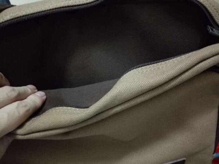 路过男士包潮单肩包帆布2018新款多功能斜挎包学生书包韩版休闲包LG88002 时尚卡其色 晒单图