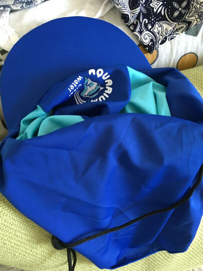 儿童泳帽 沙滩防晒帽抽绳护颈 弹性面料 多功能海滩帽 蓝色3 晒单图