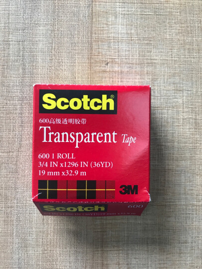 ?㊣3m 美国胶带600透明玻璃胶带 scotch思高测试胶带纸附着力工业胶带 19mm×32.9m 晒单图