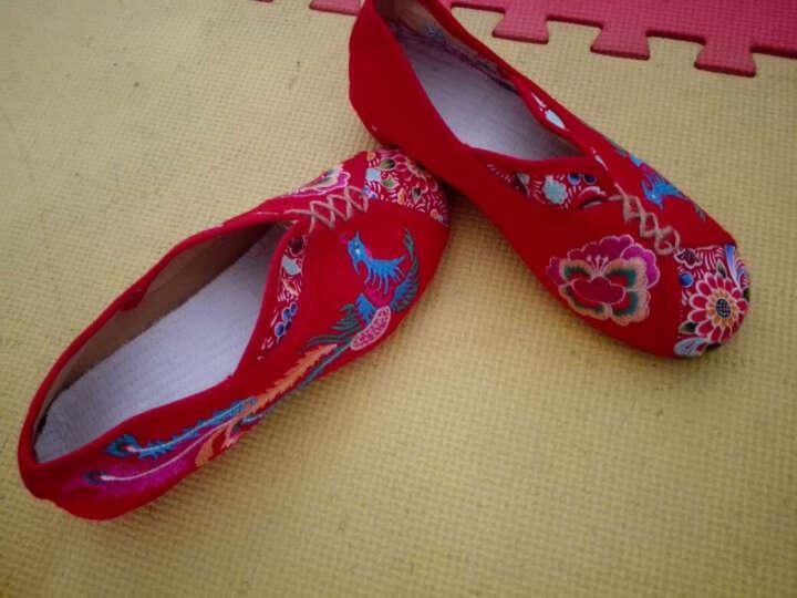 慕蓝枫绣花鞋布鞋女老北京布鞋民族风舒适低跟套脚休闲广场舞鞋 米色18-35 40 晒单图
