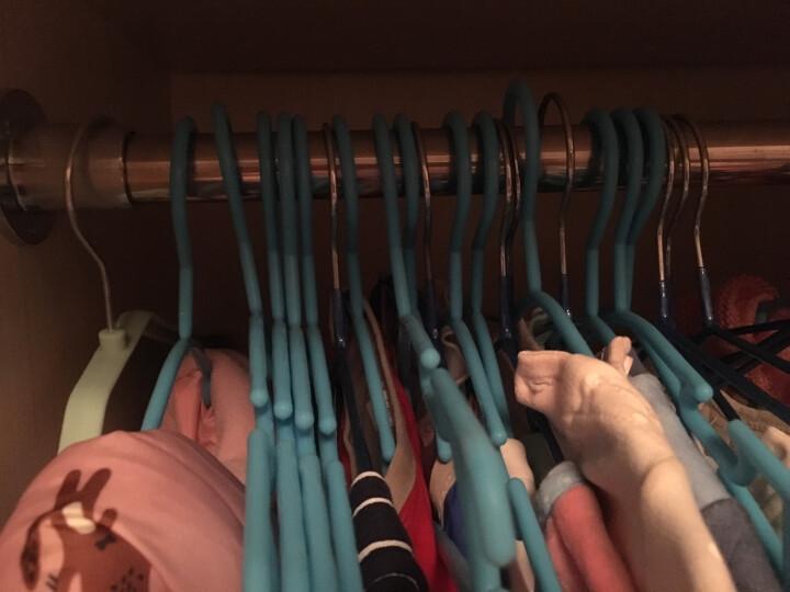 佰客喜 儿童衣架 浸塑晾衣架 不锈钢纳米级衣架 干湿两用 儿童防滑凹槽衣服撑子 加粗款优雅蓝 30支装 98337 晒单图
