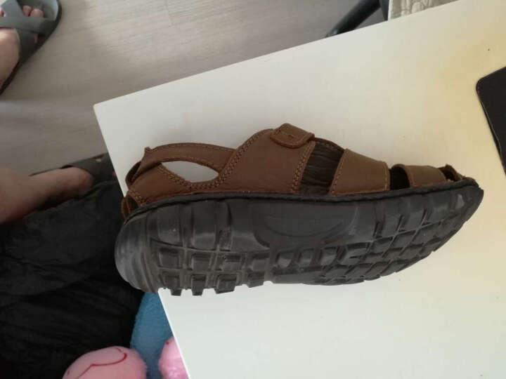 英国[BCS]邦楚仕2019新款凉鞋 男士夏季真皮包头户外沙滩鞋牛皮凉鞋男 16311-1黑色 41 晒单图