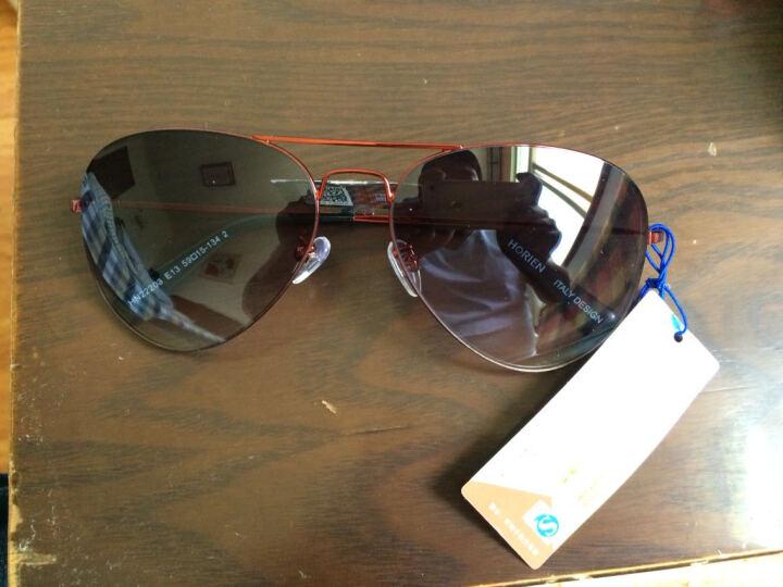 海俪恩(HORIEN) 太阳镜男款罗志祥同款墨镜男士彩膜偏光蛤蟆镜驾驶司机眼镜 N6259 HN2203红框灰片 晒单图