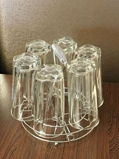 威美家用透明玻璃水杯带杯架套装 男女士喝水杯子柠檬杯牛奶饮料果汁花茶杯子办公酒店用品 曼陀罗六只带杯架 晒单图
