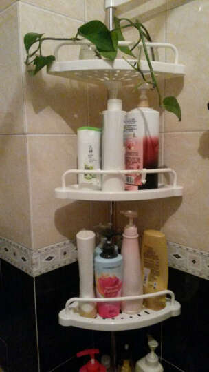 家柏饰 浴室架置物 卫生间置物架 顶天立地 浴室转角架厕所置物架 4个托盘1个毛巾杆 晒单图