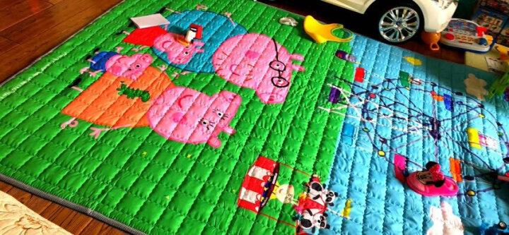 小猪佩奇 Peppa Pig 宝宝爬行垫卡通棉垫子折叠垫防滑地垫游戏毯加厚1CM 195*145cm  游戏大转盘 晒单图