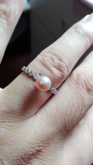 PEARLONA珍珠戒指女纯银日韩满钻简约指环天然淡水珍珠个性创意 紫色珍珠 晒单图