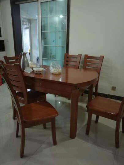夜里香 可伸缩餐桌  实木餐桌椅组合实木套装 大气圆桌  方桌可伸缩一桌六椅 海棠红+包送到家+包安装 一桌六椅 晒单图