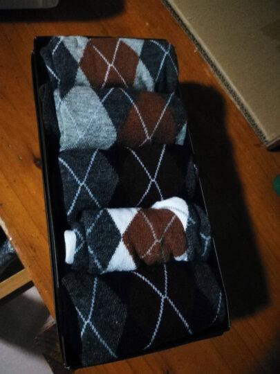 南极人(Nanjiren)休闲菱形格棉袜子男士袜子透气吸汗纯色中筒透气吸汗袜5双 礼盒装 均码 晒单图