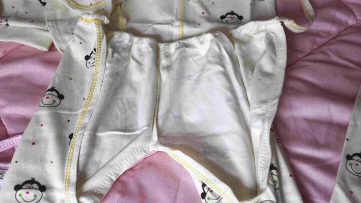 【送肚兜+围嘴+防抓手套】新生儿内衣套装五件套宝宝纯棉打底服刚出生婴儿内衣猴宝宝衣服0-3 小猴款黄色 59码 晒单图