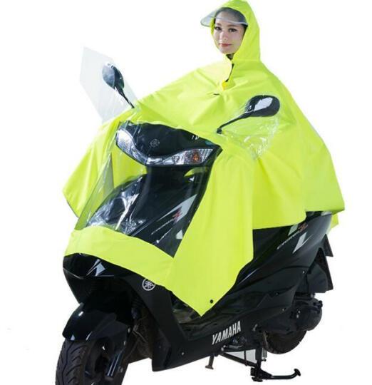 【京东超市】正招(kendo)户外骑行成人电动电瓶摩托车雨衣男女式单人雨披加大加厚 P1H莹黄4XL大帽檐 晒单图